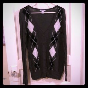 Dressbarn gray argyle button-down cardigan, GUC